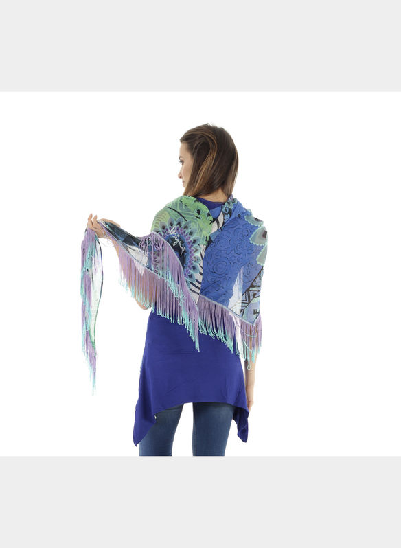 FOULARD FUN ZEBRA BOHO , 5099NVYACQUA, medium