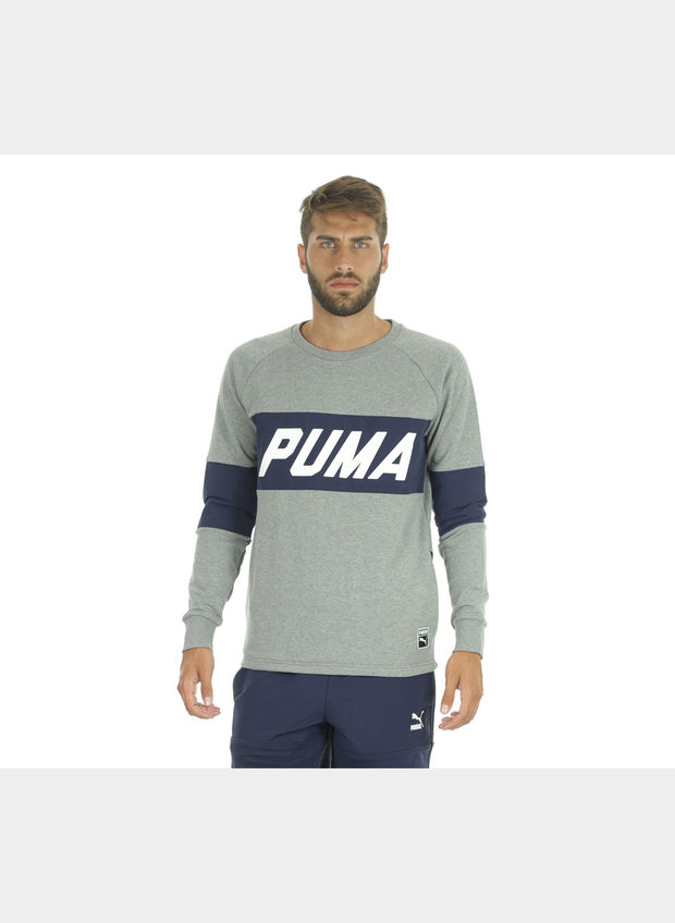 FELPA COLORBLOCK CREW UOMO, 004GREY, large