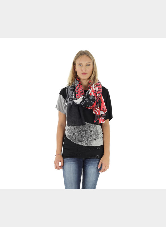 FOULARD RECTANGLE KISSES , 3088BLKRED, medium