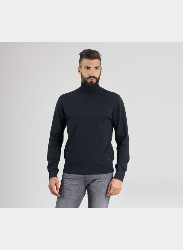 MAGLIONE ROLL NECK KNIT , 01BLK, large