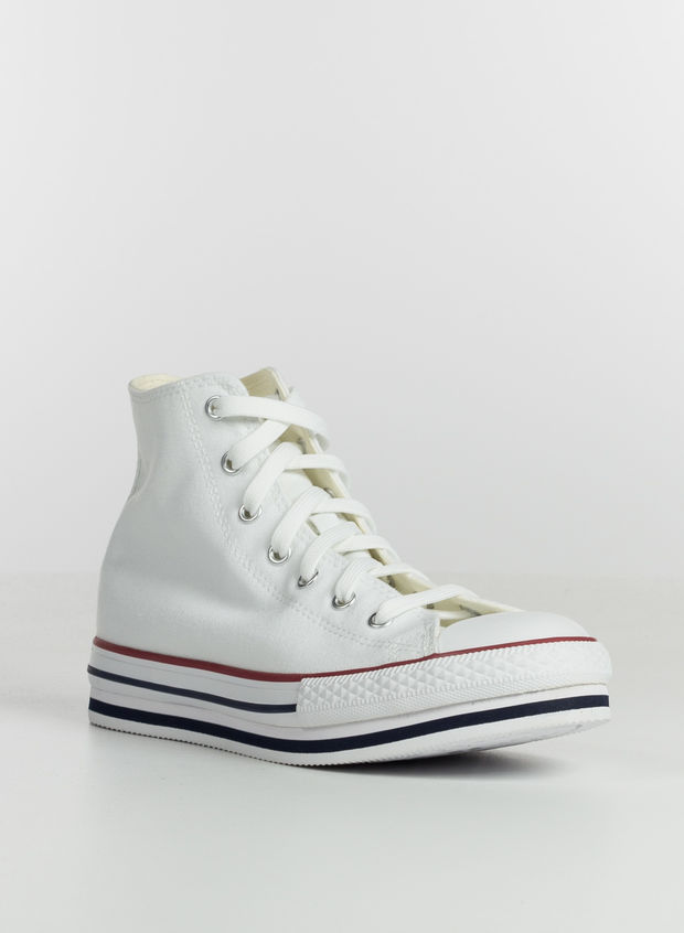 SCARPA PLATFORM CHUCK TAYLOR ALL STAR HIGH TOP RAGAZZA, WHT, large