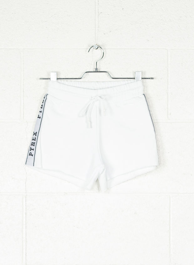 SHORT BANDA LUREX, BIANCO, large