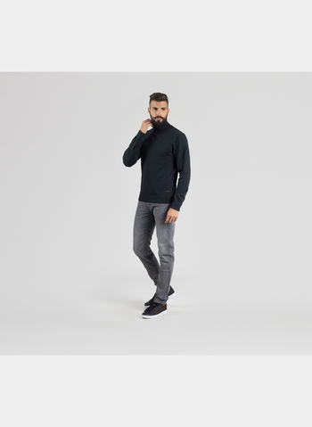 MAGLIONE ROLL NECK KNIT , 01BLK, small