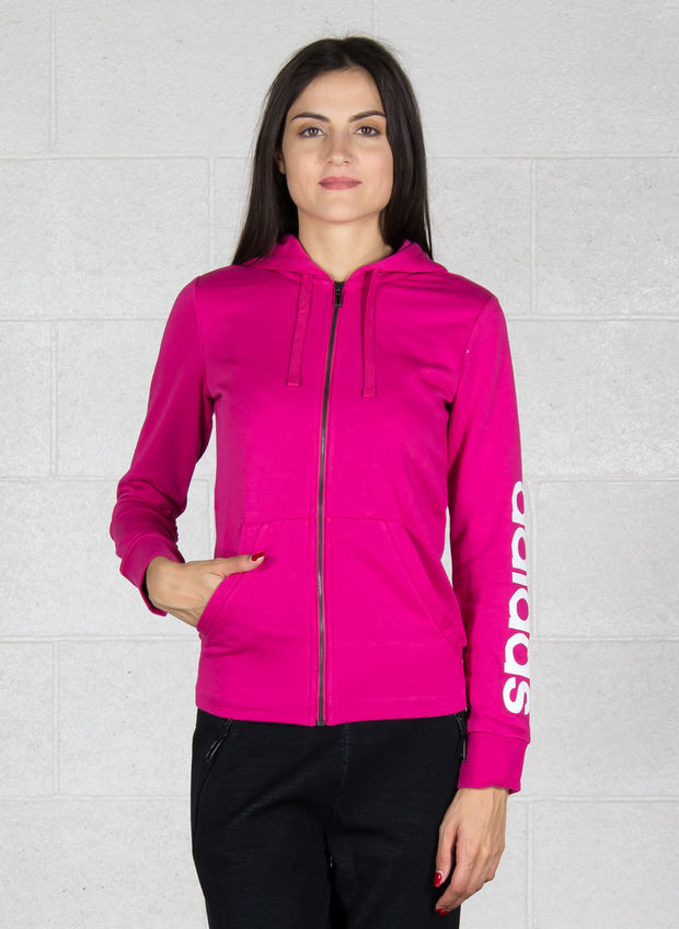 FELPA CON CAPPUCCIO ESSENTIALS LINEAR FULL ZIP, FUXIA, large