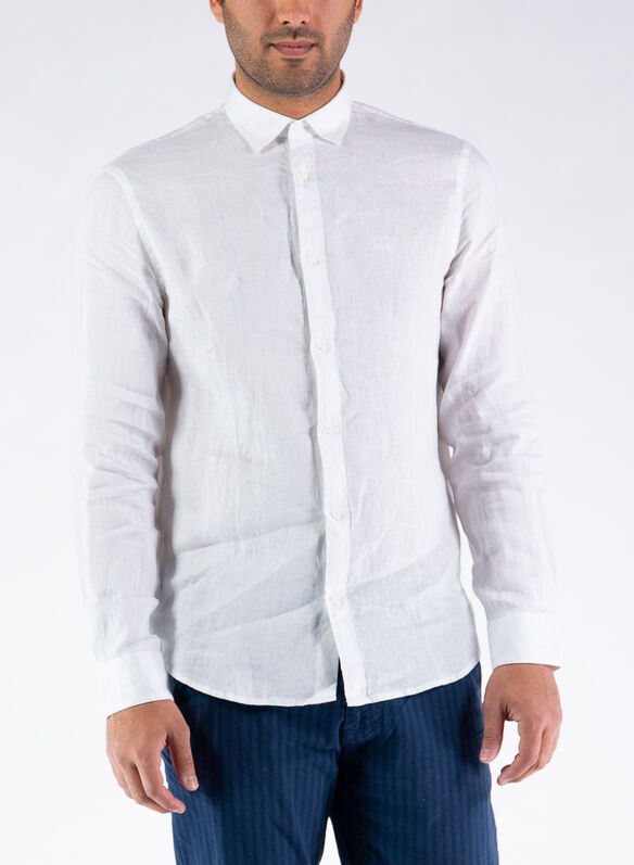 CAMICIA IN LINO, 1100WHT, medium