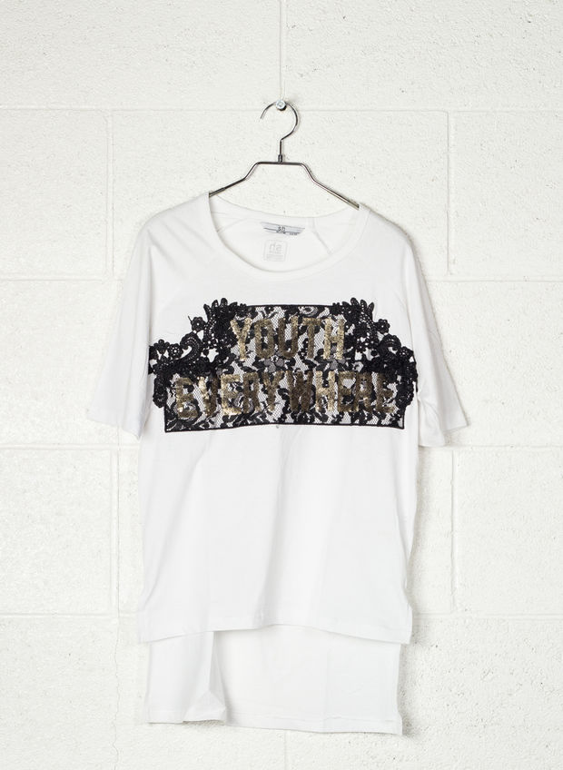 T-SHIRT STAMPA PIZZO CON PAJETTES, WHT, large