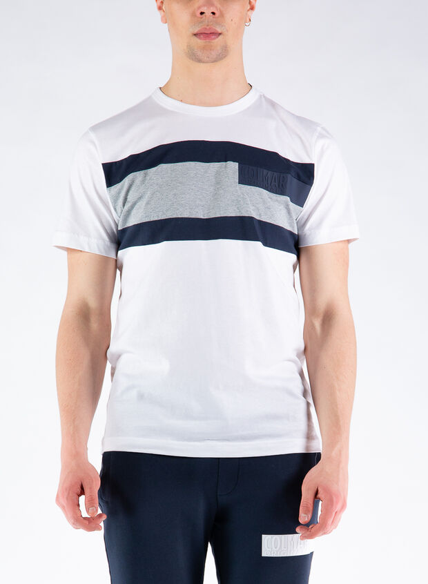 T-SHIRT COLORBLOCK IN COTONE, 01WHT, large