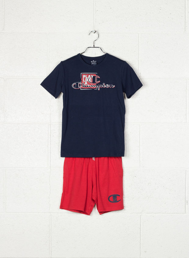 COMPLETINO T-SHIRT+SHORT ATH DEPT STAMPA RAGAZZO, BS503 NVYRED, large