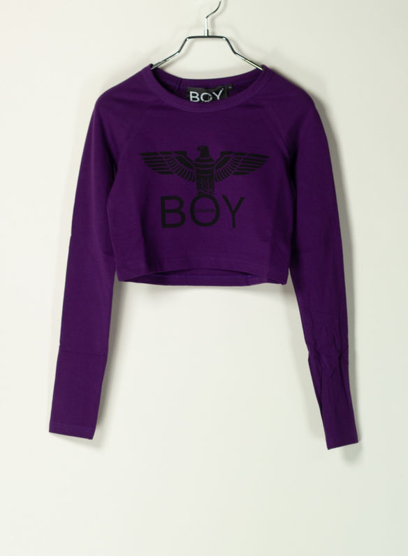 T-SHIRT CROP BIG LOGO, VIOLA, medium