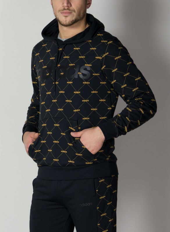 HOODIE LINEAR GRAPHIC, BLKYELLOW, medium