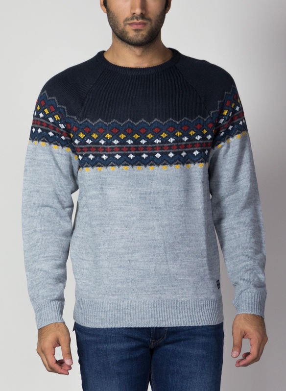 MAGLIONE TIROLESE XMAS, 74645NVYGREY, medium