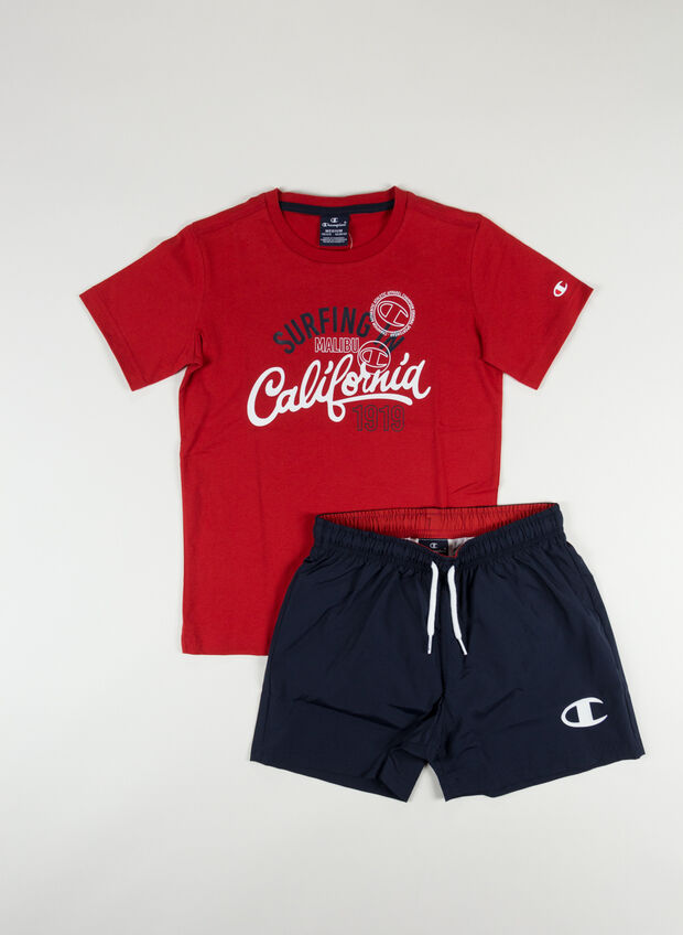 COMPLETO T-SHIRT + SHORT BACK THE BEACH RAGAZZO, RS053REDNVY, large