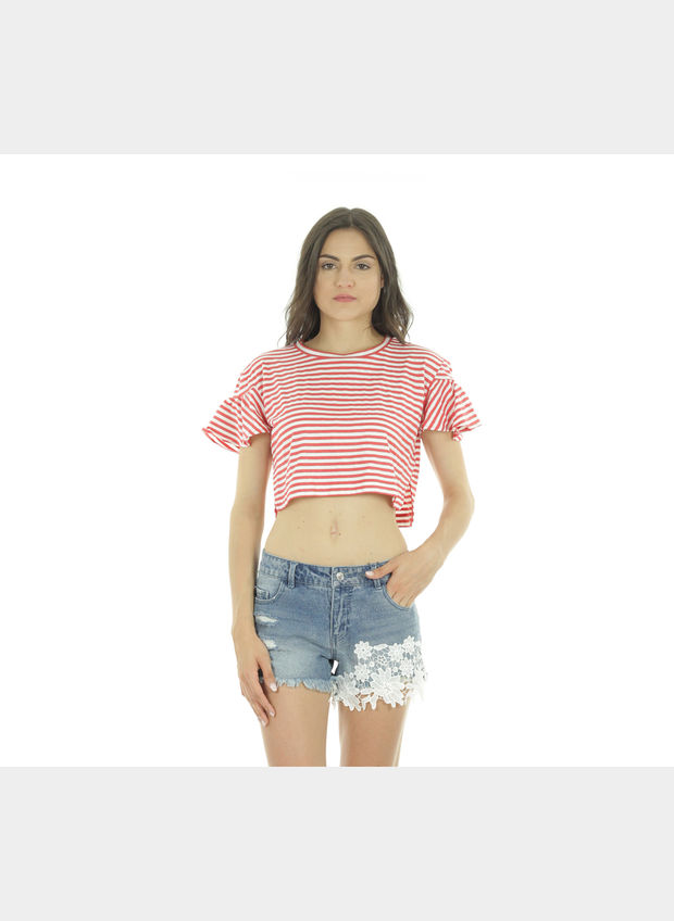 TOP SHINE FRILL CROP , , large