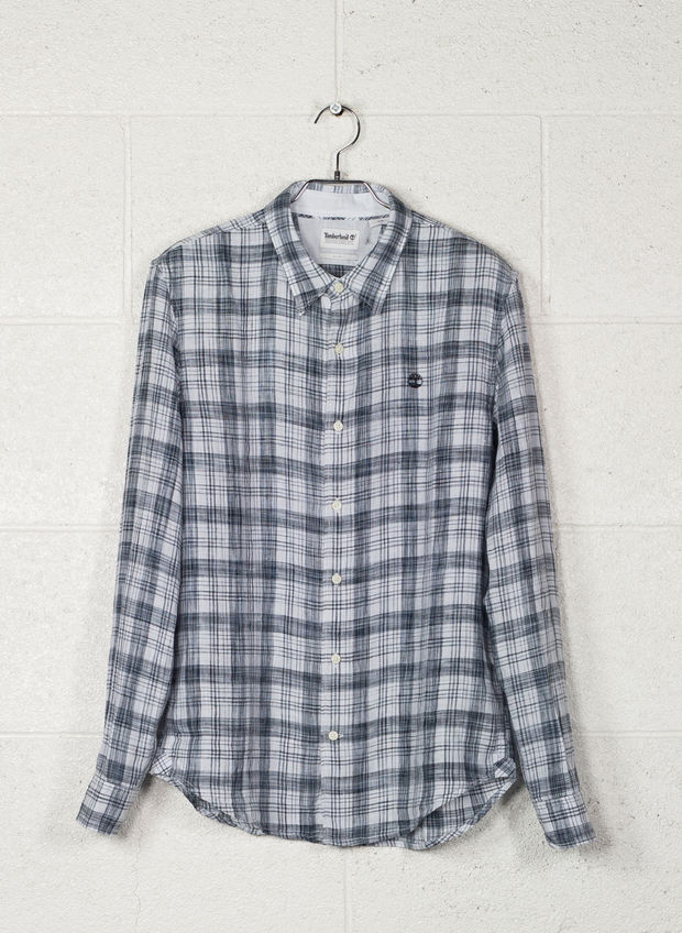 CAMICIA  LINO CHECK, A94NVYWHT, large