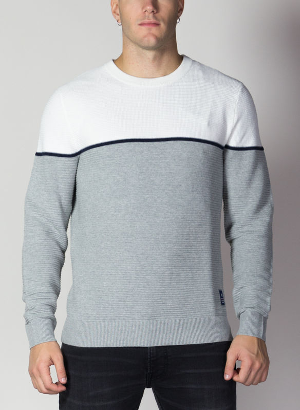 MAGLIONE BRIT BICOLOR, CLOUDGREY, medium