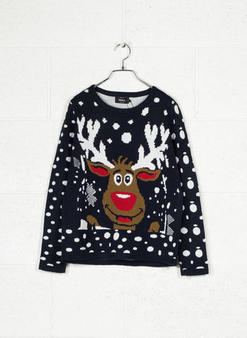 MAGLIONE GIRO REINDER MERRY CHRISTMAS, NIGHT SKY, small
