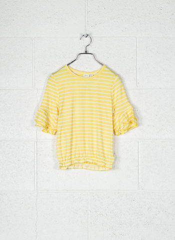 T-SHIRT RIGATA RAGAZZA, YELLOWHT, small