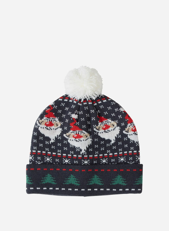 CAPPELLO MAGLIA PONPON MERRY CHRISTMAS, 74645NVY, medium
