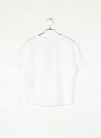 T-SHIRT CROP LOGO, BIANCO, small
