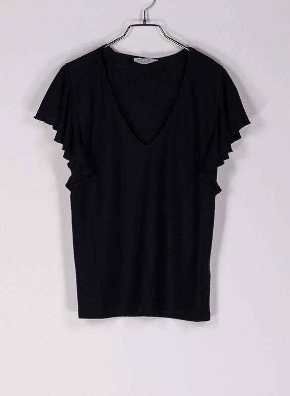 T-SHIRT SCOLLO A V, BLK, medium