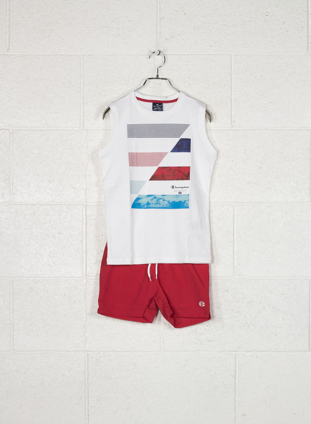 COMPLETINO BACK TO BEACH RAGAZZO, WW001 WHTRED, large
