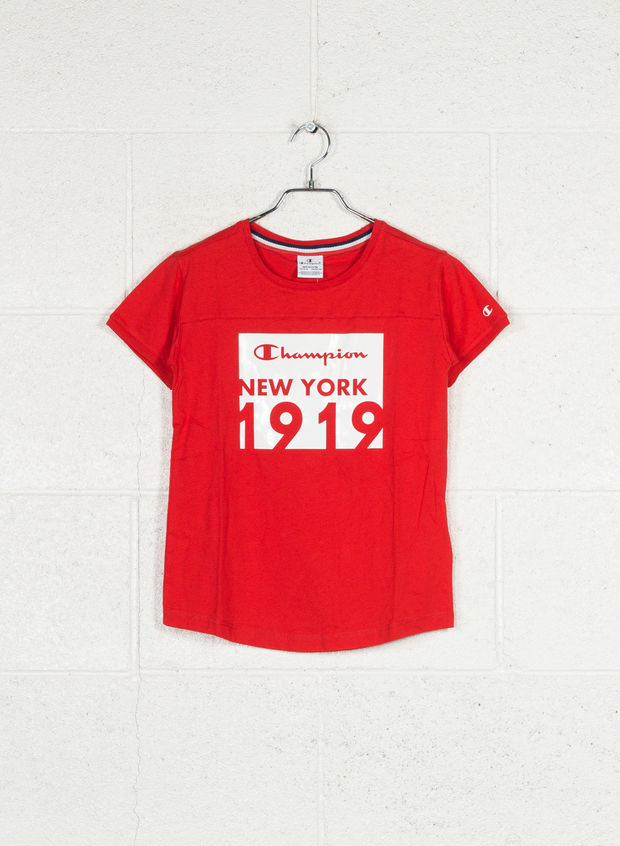 T-SHIRT MAXI STAMPA AMERICAN CLASSIC RAGAZZA, RS041 RED, large