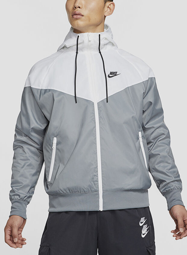 GIACCA CON CAPPUCCIO WINDRUNNER, 084GREYWHT, large