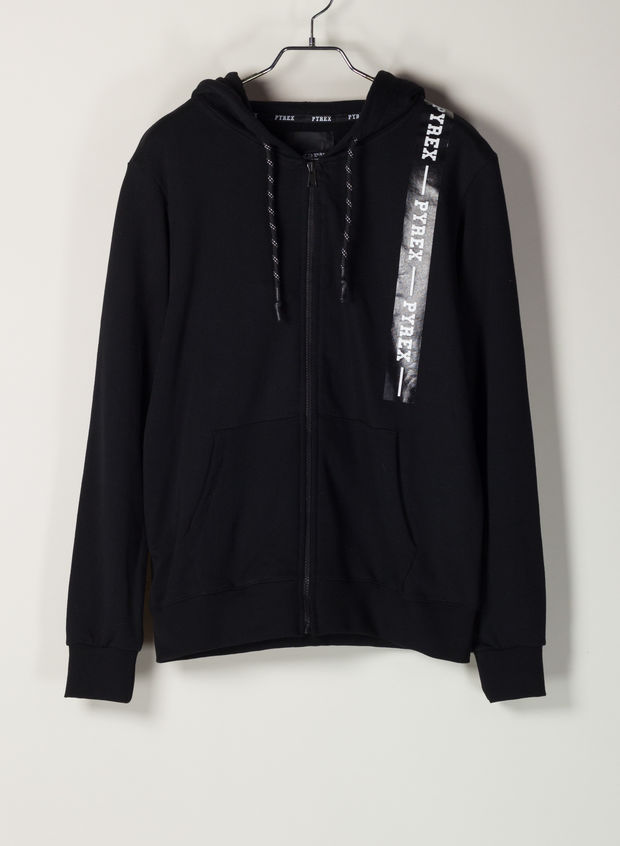 FELPA FULL ZIP, NERO, large