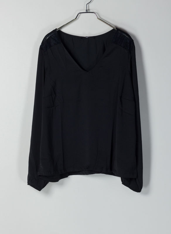 BLUSA INSERTO PIZZO, BLK, medium