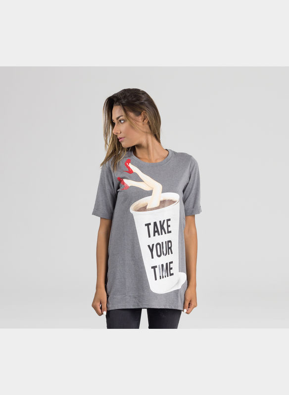 T-SHIRT MC STAMPA TAKE OR TIME, GRIGIO, medium