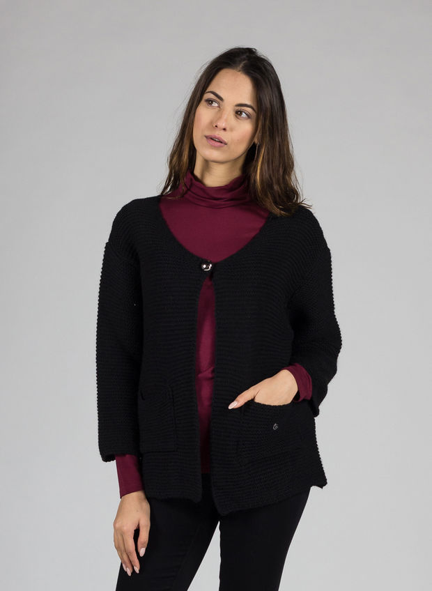 CARDIGAN CON BOTTONE, NERO, large