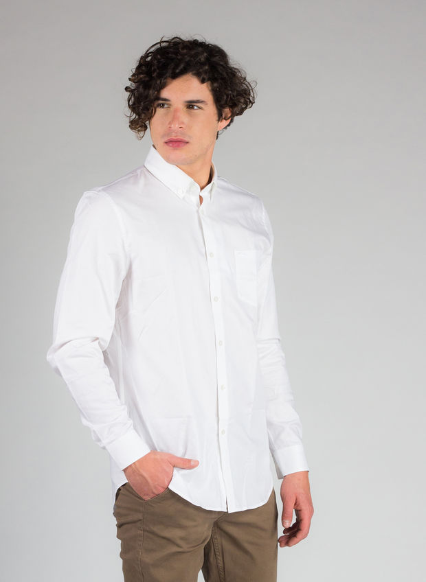CAMICIA REGULAR FIT IN MINI PIQUÉ DI COTONE TINTA UNITA, 800WHT, large