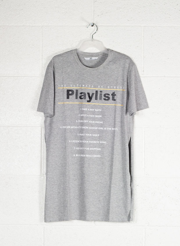 T-SHIRT STAMPA PLAYLIST, GREY, large