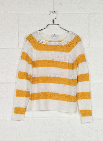MAGLIONE STRIPED KNITTED PULLOVER, CLOUD GOLDEN, small