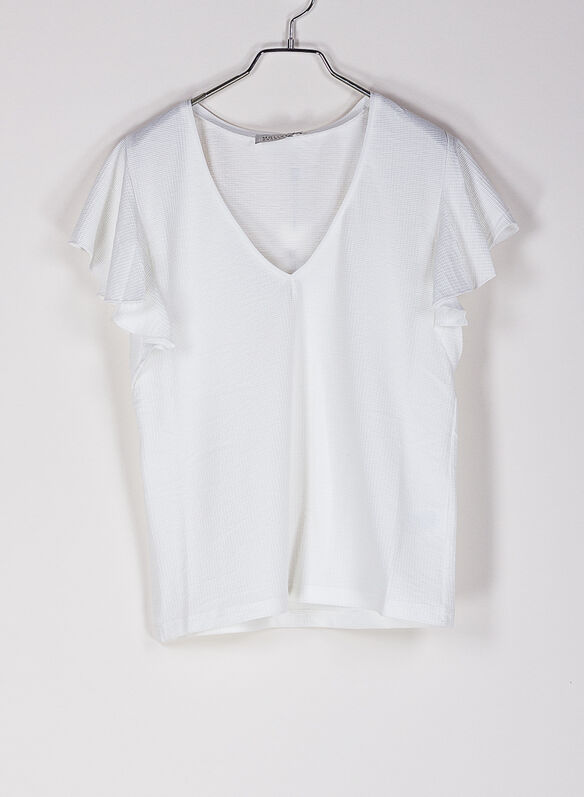 T-SHIRT SCOLLO A V, WHT, medium