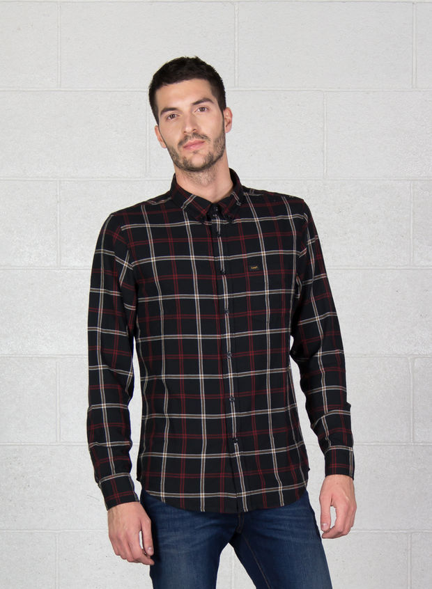 CAMICIA BUTTON DOWN, EM BLKRED, large