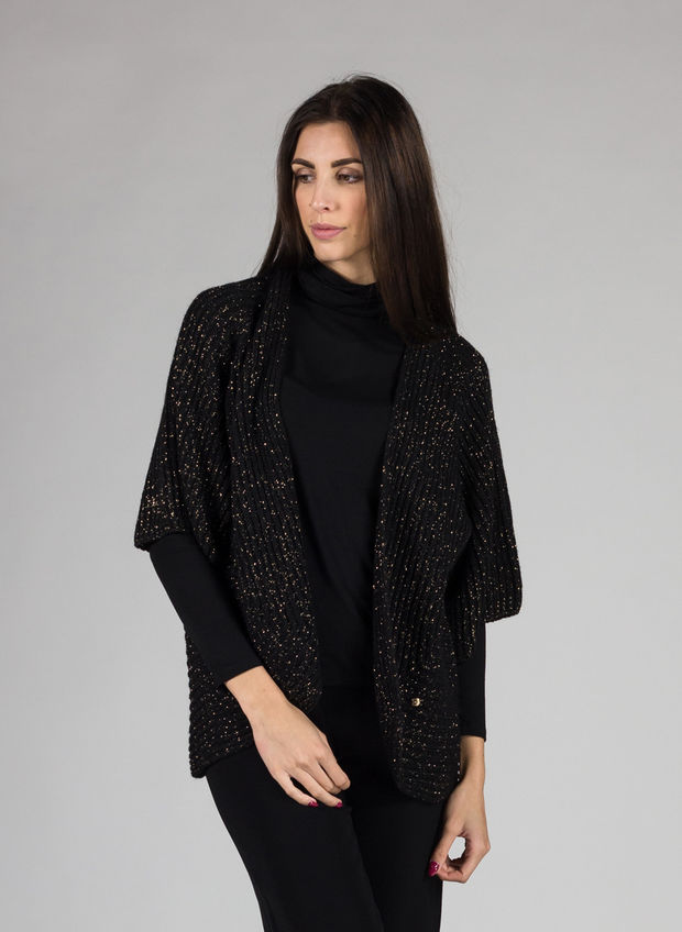 CARDIGAN LUREX, NERO, large