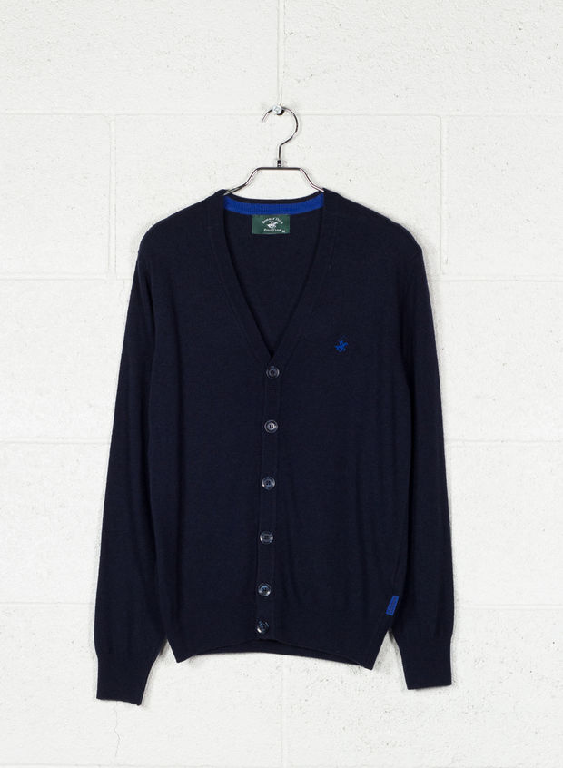 CARDIGAN BOTTONI MISTO CASHMERE, BLUE, large