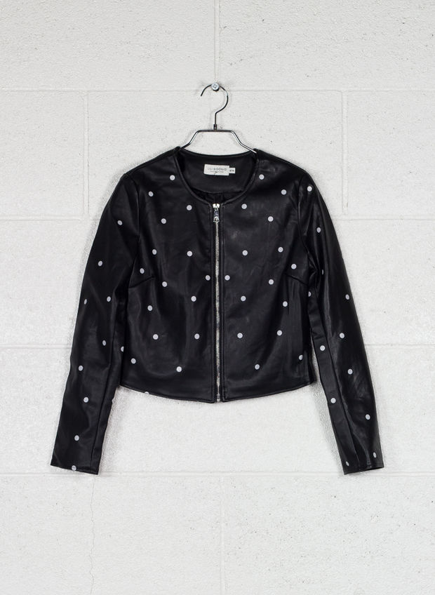 GIUBBOTTO PERFECTO WITH DOTS, BLK, large