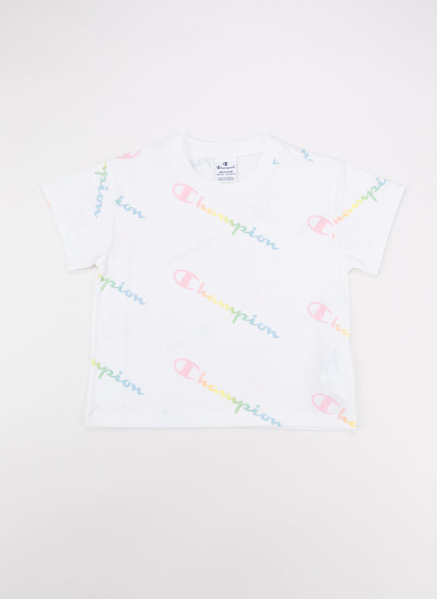 T-SHIRT LOGO ALL OVER COLOR RAGAZZA, WL001WHT, large
