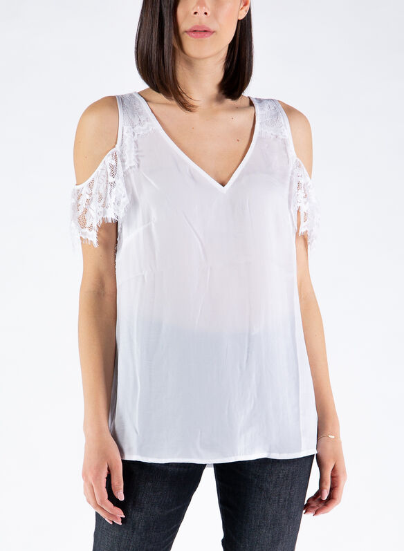 BLUSA INSERTO IN PIZZO, TWWH WHT, medium