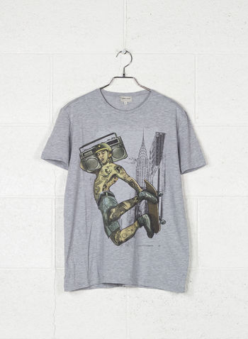 T-SHIRT GRAPHIC SKATER, GRIGIO, small