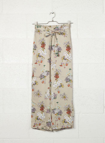 PANTALONE FLOWER PRINTED TROUSERS, ECRU, small
