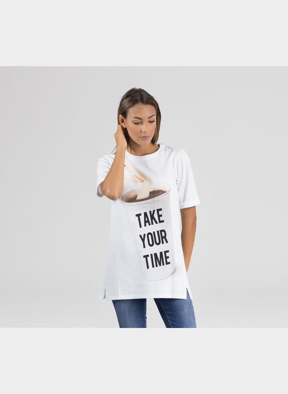 T-SHIRT MC STAMPA TAKE OR TIME, BIANCO, medium