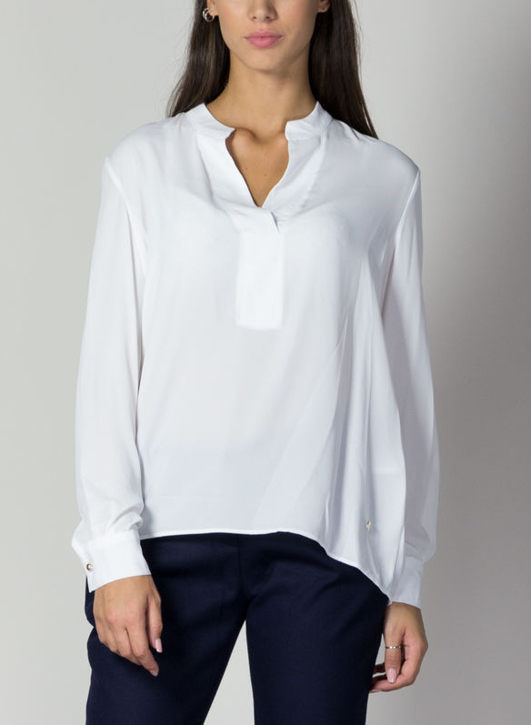BLUSA SCOLLO A V, PANNA, medium