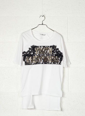 T-SHIRT STAMPA PIZZO CON PAJETTES, WHT, small