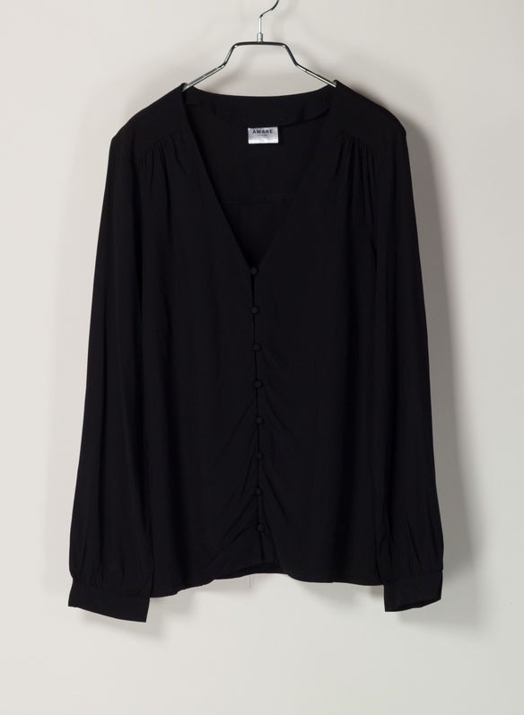 CAMICIA SCOLLO V, BLK, medium