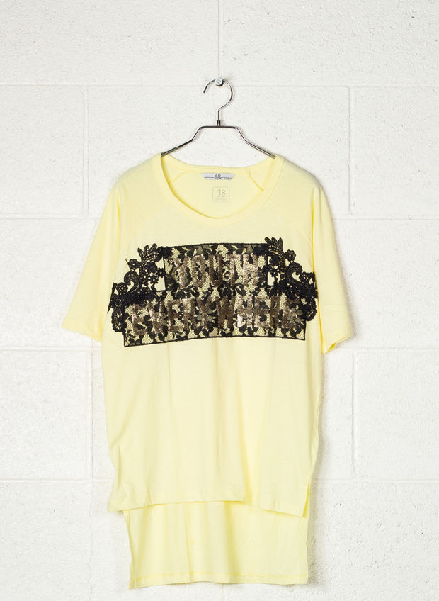 T-SHIRT STAMPA PIZZO CON PAJETTES, GIALLO, large