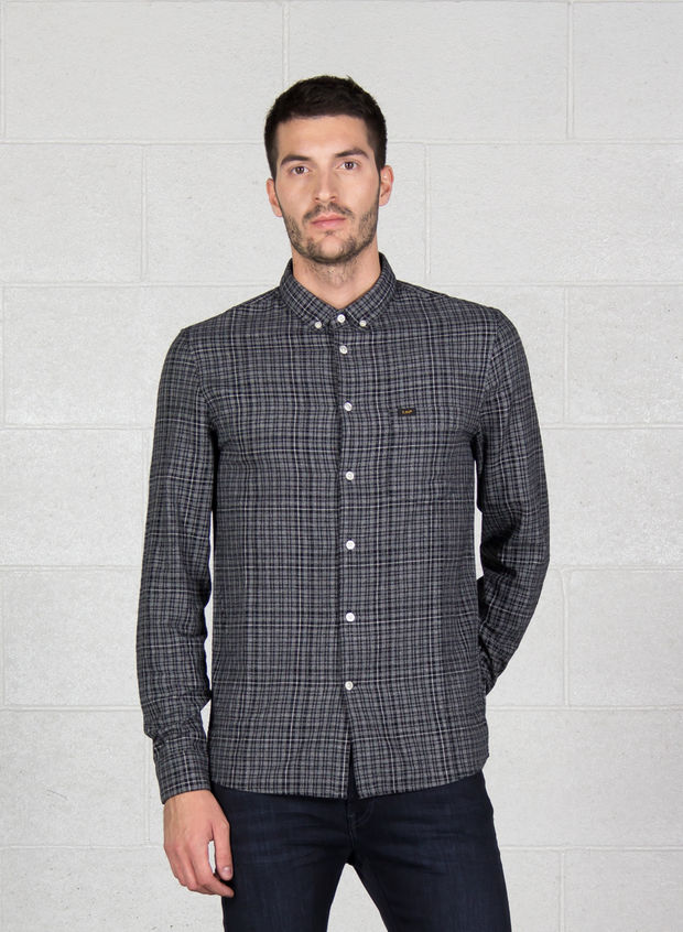 CAMICIA BUTTON DOWN, EM BLKGREY, large