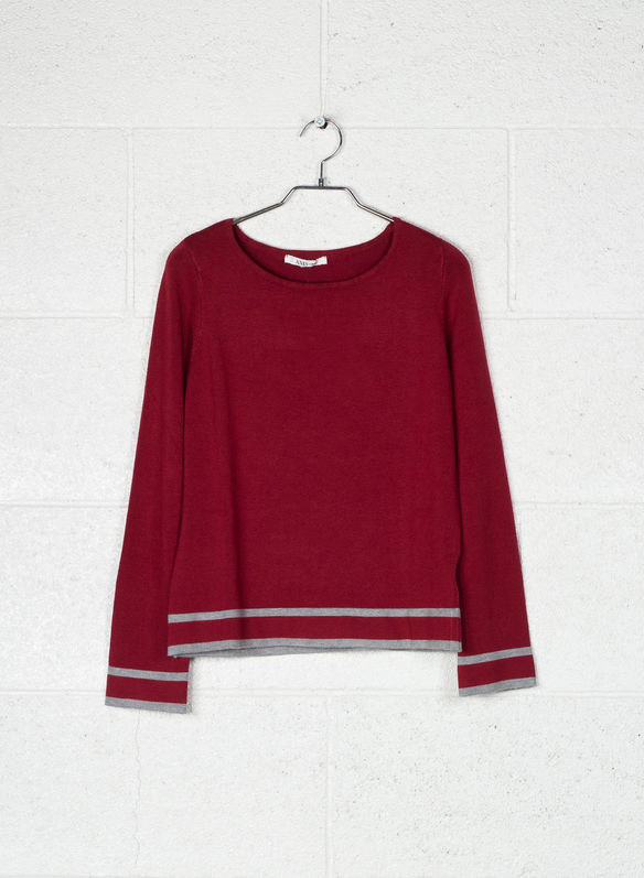 MAGLIONE CON BORDO BICOLORE, 17REDGREY, medium
